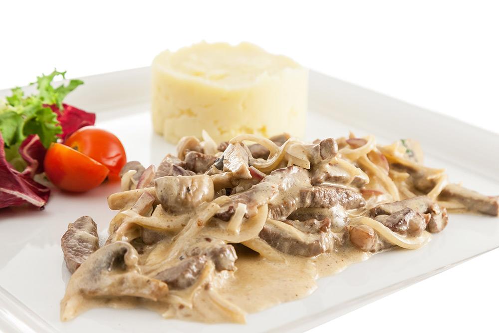 бефстроганов из говядины с грибами в сливочном соусе рецепт